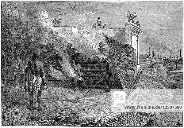 Cremation of the dead on funeral pyres  Calcutta  India  1879. Artist: Unknown