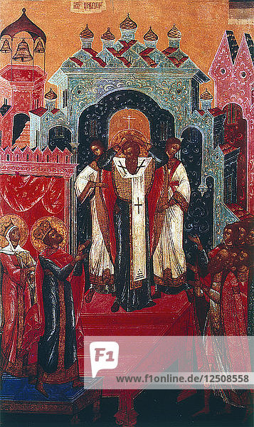 Elevation of the Cross during a Russian Orthodox service  19th century. Artist: Anon