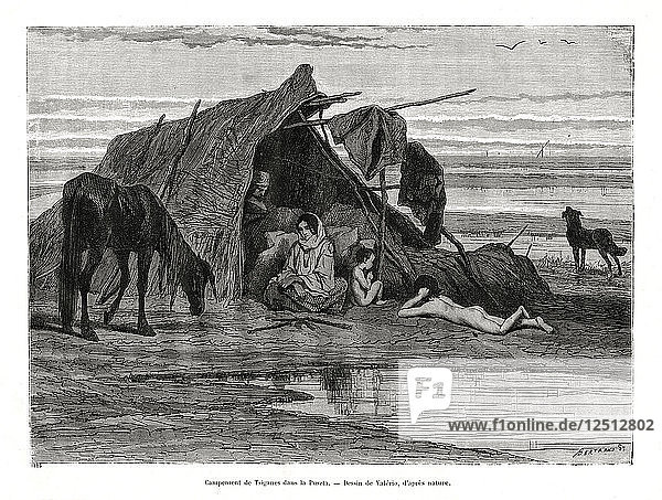 Tziganes camping in the Puszta  1886. Artist: Unknown