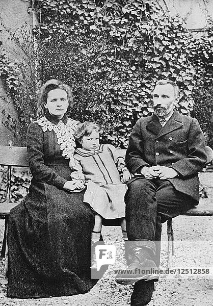 Pierre and Marie Curie  French scientists  with their daughter Irene  1904. Artist: Unknown