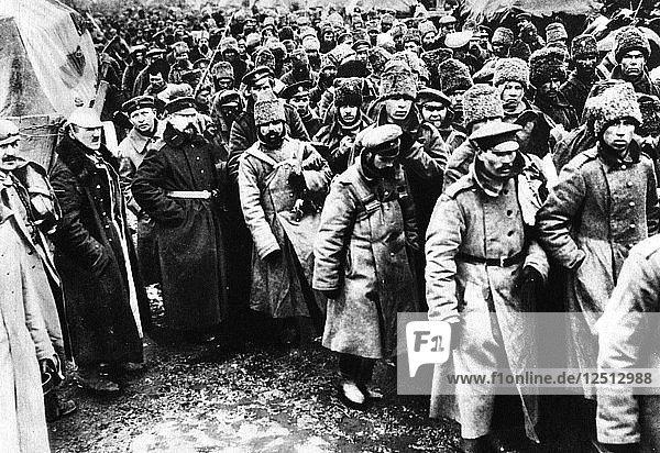 Russians taken prisoner by Germany on the Eastern front  World War I  1914-1917. Artist: Unknown