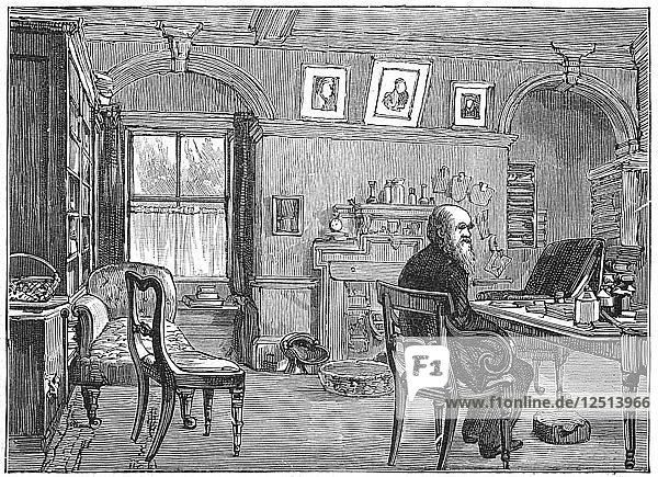 Charles Darwin  English naturalist  in his study  c1870 (1887). Artist: Anon