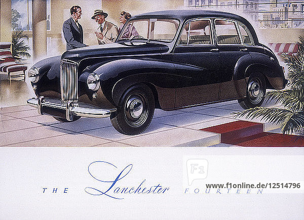 Poster advertising a Lanchester 14  1951. Artist: Unknown