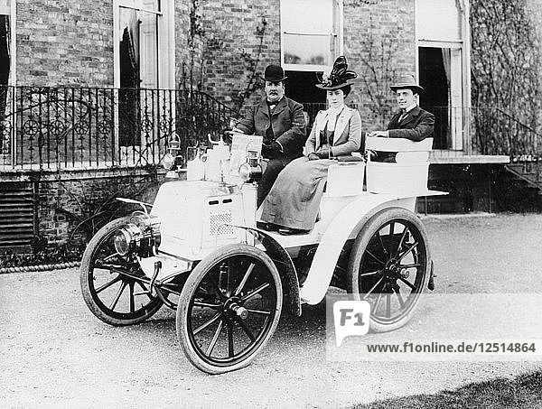 Frank Butler and daughter on a 6hp Panhard  1900. Artist: Unknown