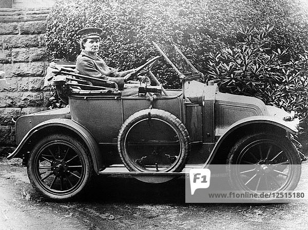 Woman in a 1911 convertible Renault AX  c1911. Artist: Unknown
