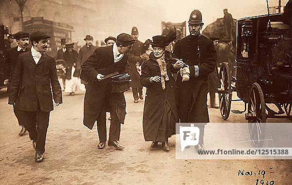 Suffragette being arrested  19th November 1910. Artist: Unknown