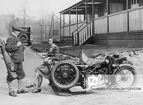 Golfers with a 1939 AJS and sidecar  (c1939?). Artist: Unknown
