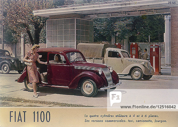 Poster advertising a Fiat 1100  1940. Artist: Unknown