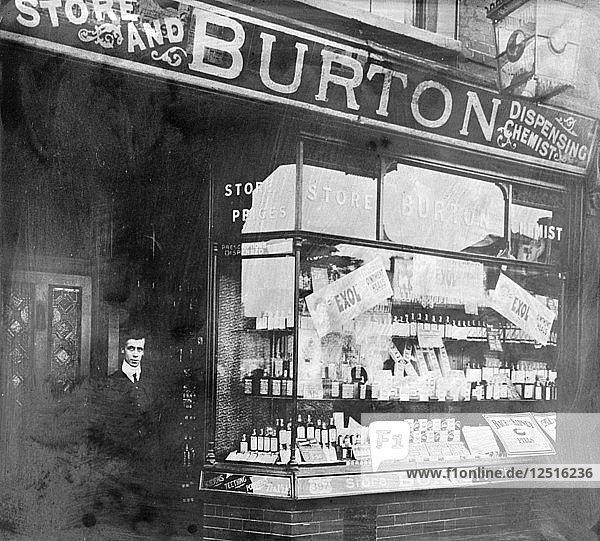 The exterior of Burtons chemist shop. Artist: Unknown