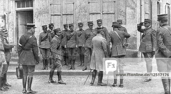 The presentation of General Franchet dEsperey to an Italian envoy to France  Champagne  (1926). Artist: Unknown