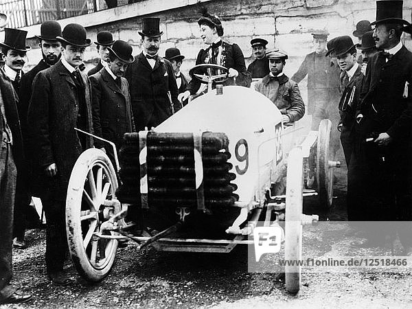 Madame du Gaste at the wheel of a De Dietrich  Paris to Madrid Race  1903. Artist: Unknown