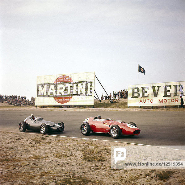 Two racing cars taking a bend  Dutch Grand Prix  Zandvoort  Holland  1959. Artist: Unknown