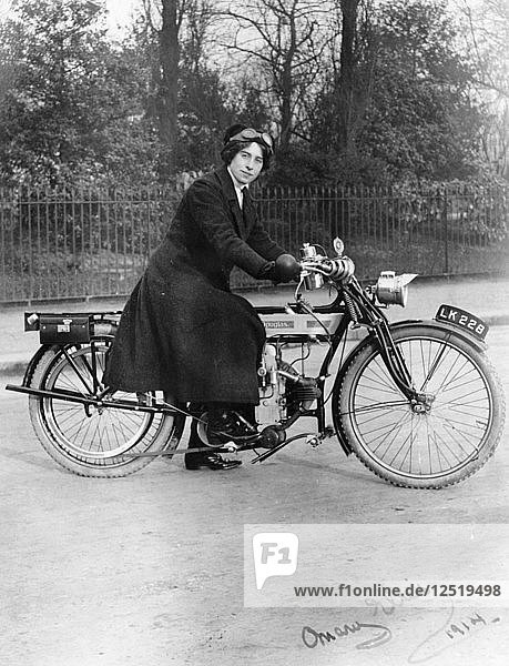A woman on a Douglas motorbike  1914. Artist: Unknown