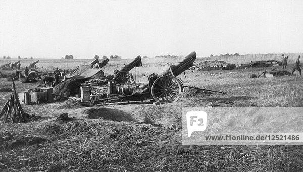 American 155th artillery battery  south of Soissons  France  18 July 1918. Artist: Unknown
