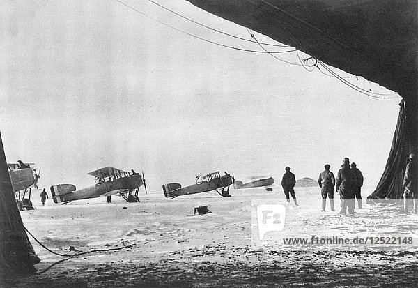Departure of French Breguet planes for a reconnaissance mission during winter  1914-1918. Artist: Unknown