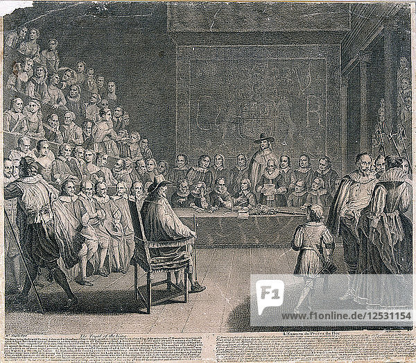 Trial of King Charles I  Palace of Westminster  c1725. Artist: Claude Dubosc