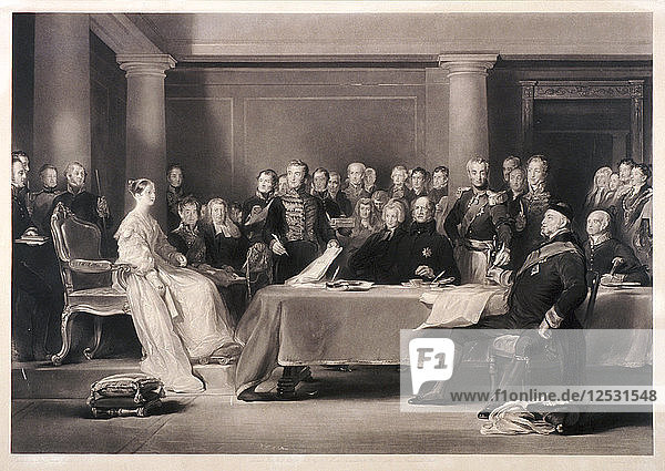 Queen Victoria presiding at the council on her accession to the throne  1846. Artist: Charles Fox