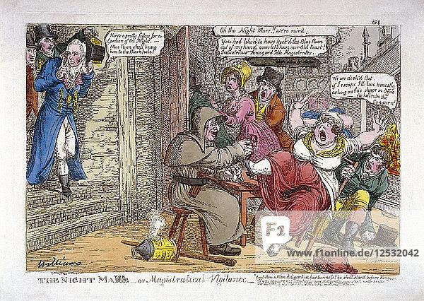 The night mayor - or magistratical vigilance  1816. Artist: Anon