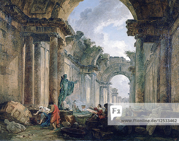 Imaginary View of the Grand Gallery of the Louvre in Ruins  1796. Artist: Robert Hubert
