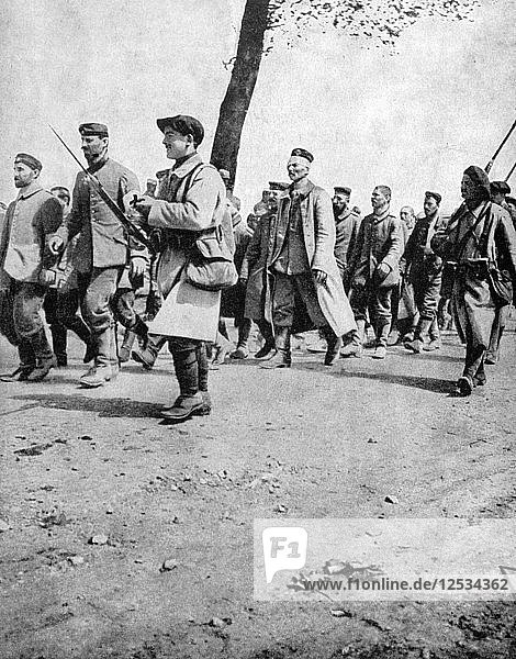 German prisoners from the Second Battle of Artois  France  World War I  1915. Artist: Unknown