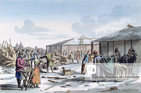 Meat Market during Winter  Russia  1821. Artist: AC Houbigaot