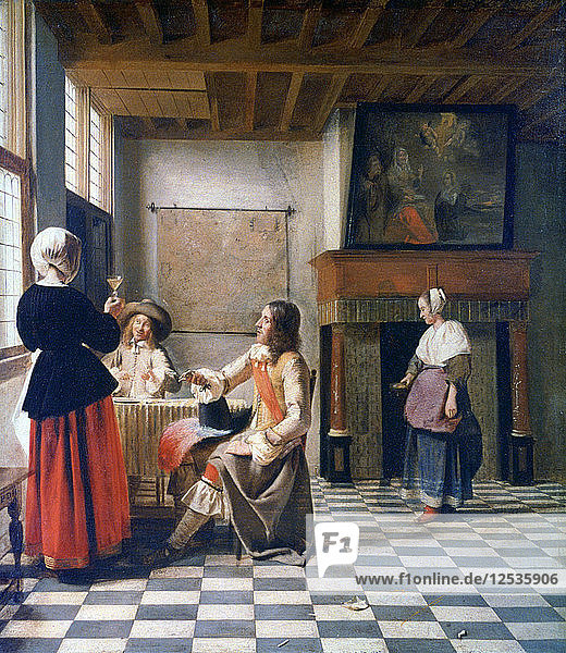 Interior  Woman drinking with Two Men  and a Maidservant  c1658 Artist: Pieter de Hooch