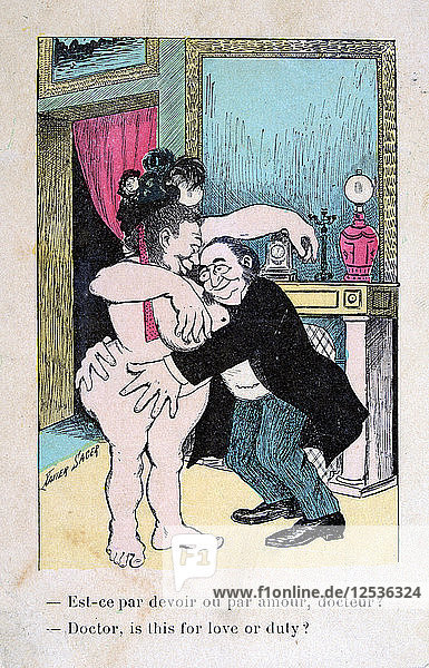 Doctor  is this for love or duty?  Vintage French postcard  c1900. Artist: Unknown