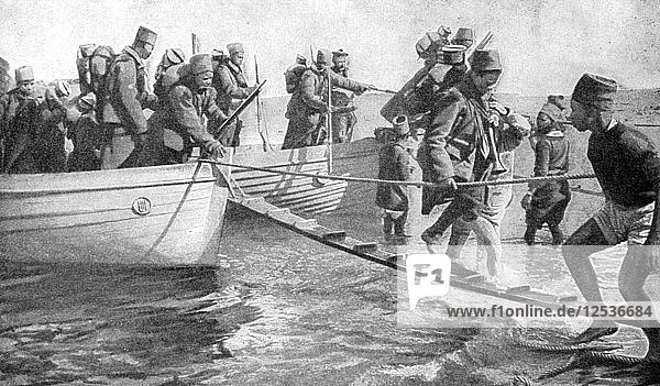 Senegalese soldiers embarking on the Egyptian coast  World War I  1915. Artist: Unknown