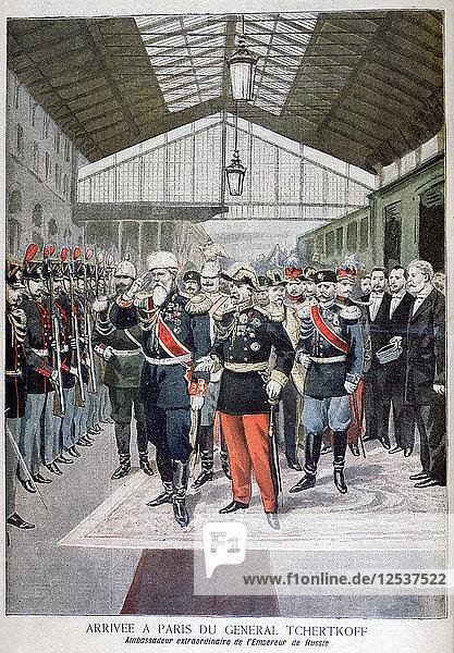 Arrival of General Tchertkoff (Chertkov)  Russian ambassador to France  Paris  1895. Artist: Unknown