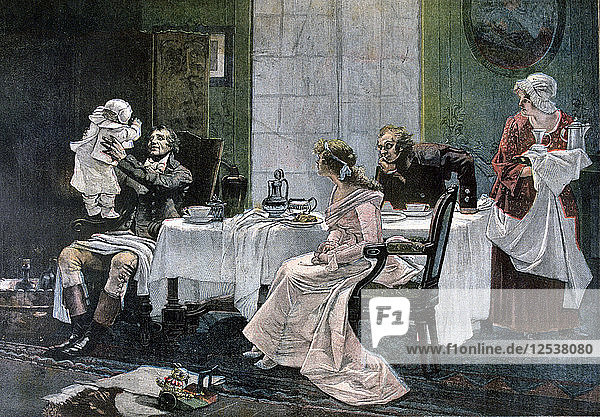 The luncheon of Camille Desmoulins  1892. Artist: Leopold Flameng