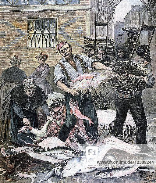 The fish market  Paris  1893. Artist: Henri Meyer