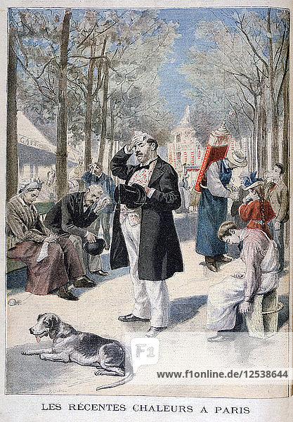 Heatwave in Paris  1895. Artist: F Meaulle