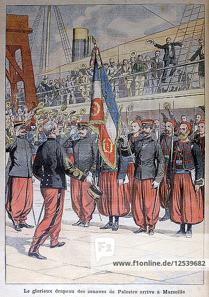 The glorious flag of the zouaves of Palestro arrives in Marseilles  1903. Artist: Unknown