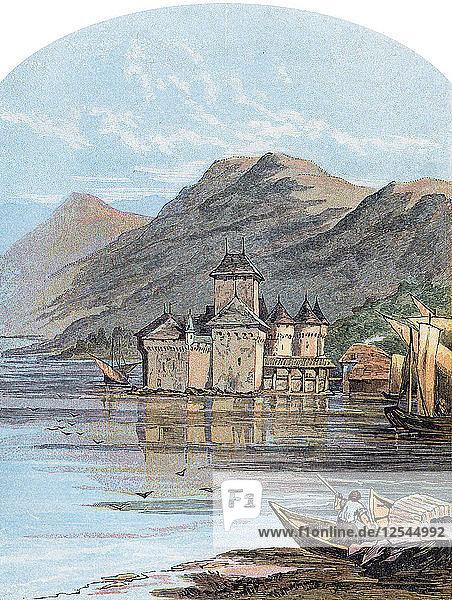 The Chillon Castle  Lake Geneva  Switzerland  1864. Artist: Unknown