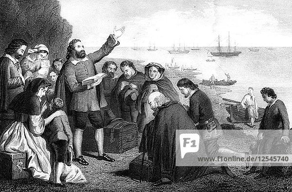 Embarkation of the Pilgrim Fathers  1620. Artist: Unknown