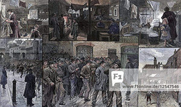 Distress in the East End of London  1886.Artist: Charles Joseph Staniland