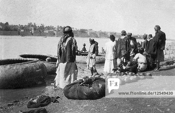 River craft laden with melons  Tigris River  Baghdad  Iraq  1917-1919. Artist: Unknown