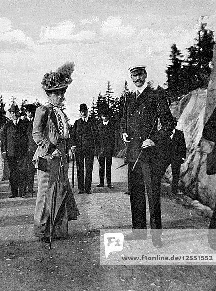 King Haakon VII of Norway (1872-1957) with his wife Queen Maud (869-1938)  1908.Artist: Queen Alexandra
