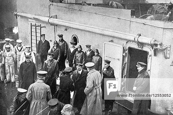 Admiral Jellicoes farewell to Lord Kitchener  First World War  1914-1916  (c1920). Artist: Unknown