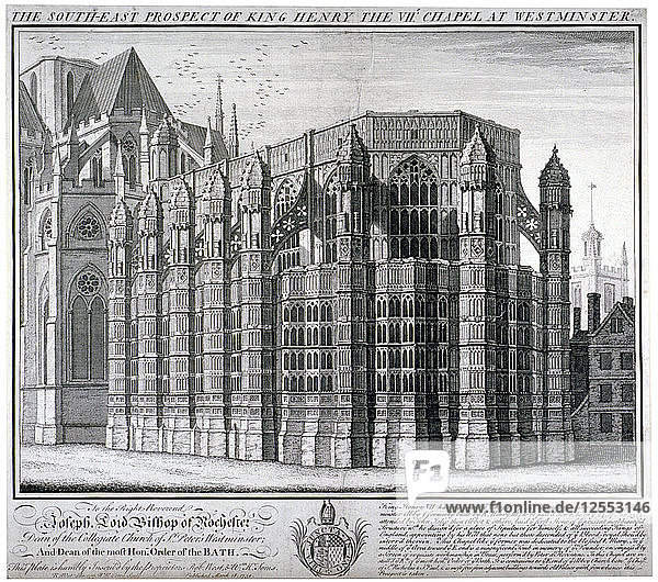South-east view of King Henry VIIs chapel at Westminster Abbey  London  1739. Artist: William Henry Toms