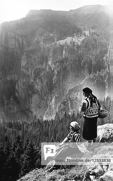 Two women admiring a view  Bistrita Valley  Moldavia  north-east Romania  c1920-c1945. Artist: Adolph Chevalier