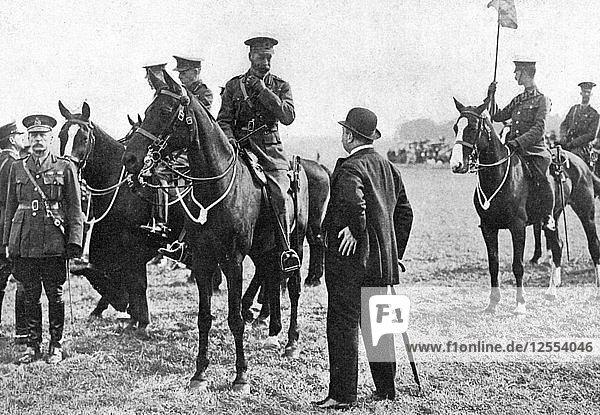King George V at an inspection of troops at Aldershot  First World War  1914-1918  (c1920). Artist: Unknown