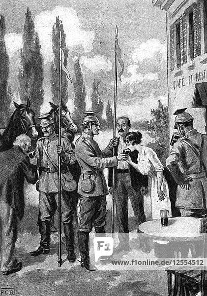 Uhlans demanding refreshments from Belgian villagers  First World War  1914. Artist: Unknown