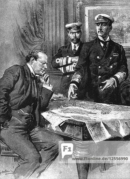 Winston Churchill  Charles Madden and Sir John Jellicoe  First World War  1914. Artist: Unknown