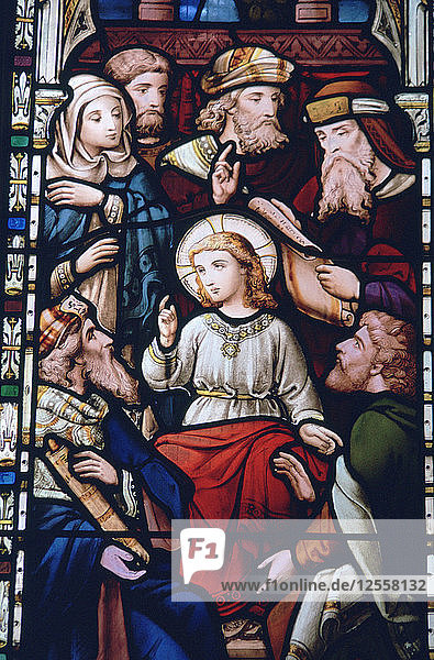 Jesus as a boy in the Temple  stained glass  St Mildreds Church  Tenterden  Kent. Artist: Bill Forbes