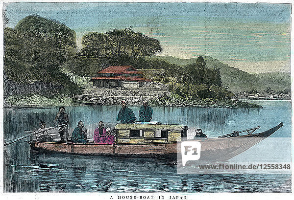 A house-boat in Japan  1888. Artist: Unknown
