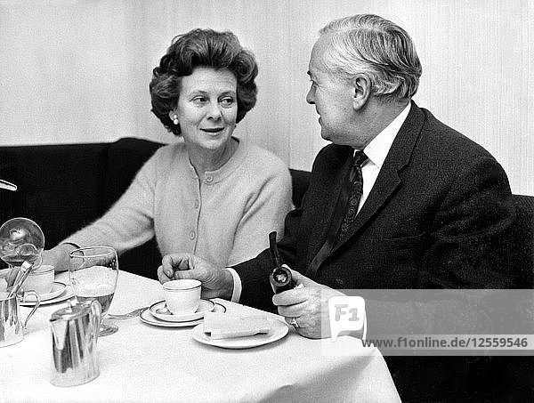Harold Wilson lunching with his wife Mary at a Soho restaurant  London  1968. Artist: Unknown