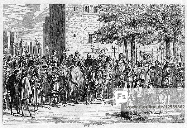 Queen Mary receiving the prisoners on the Tower Green  1553 (1840). Artist: George Cruikshank