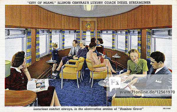 On board the City of Miami streamliner train  USA  1941. Artist: Unknown