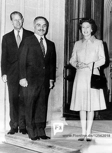 The Queen and the Duke of Edinburgh with King Hussein of Jordan  Windsor Castle  1977. Artist: Unknown
